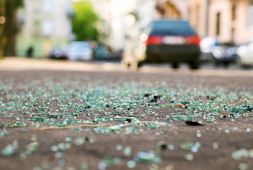 Shards of car glass on the street